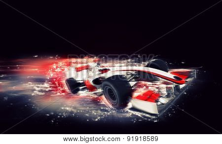 3D render of a generic racing car with special speed effect