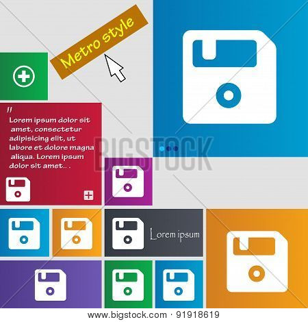 Floppy Icon Sign. Metro Style Buttons. Modern Interface Website Buttons With Cursor Pointer. Vector