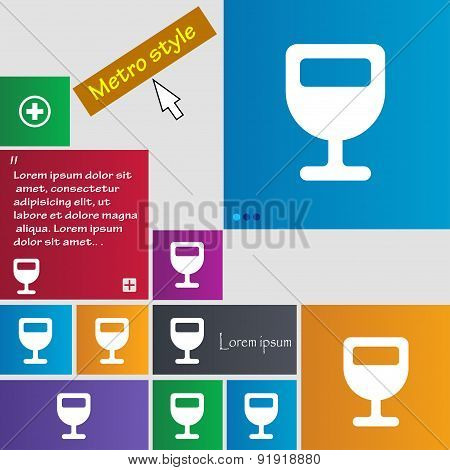Wine Glass, Alcohol Drink Icon Sign. Metro Style Buttons. Modern Interface Website Buttons With Curs