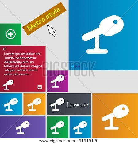 Microphone, Speaker Icon Sign. Metro Style Buttons. Modern Interface Website Buttons With Cursor Poi