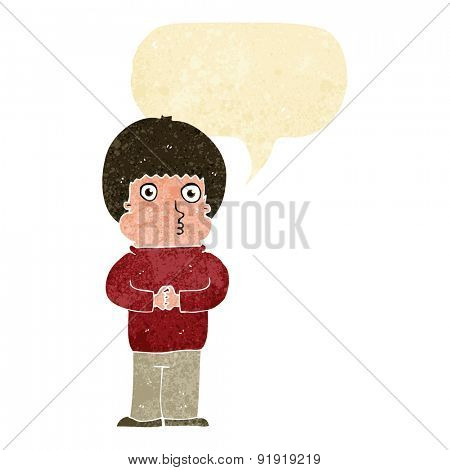 cartoon shy boy with speech bubble