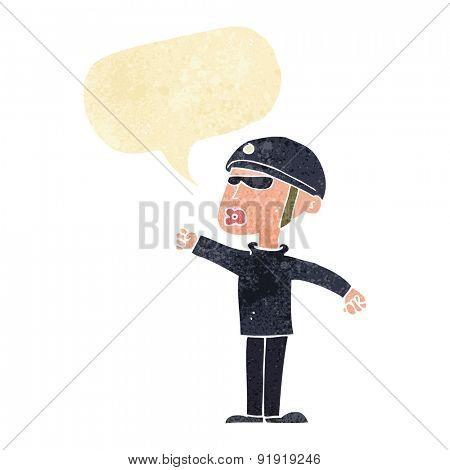 cartoon security guy with speech bubble