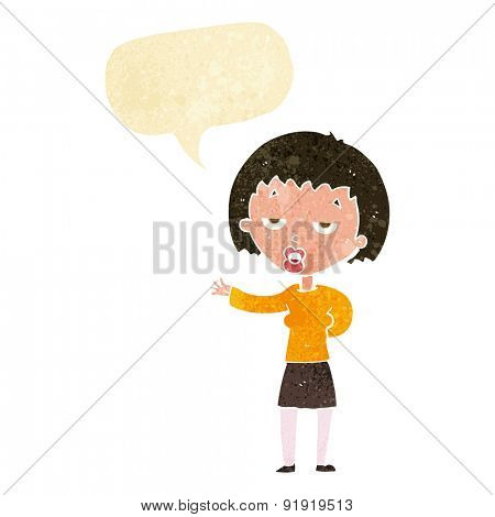 cartoon bored woman with speech bubble
