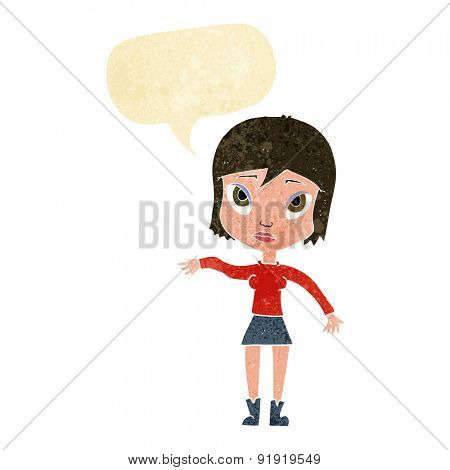 cartoon woman waving hand with speech bubble