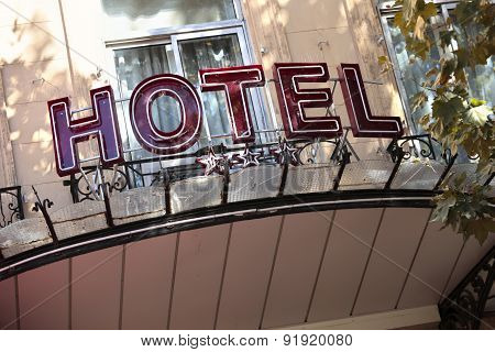 Old Hotel Entrance Sign In Paris