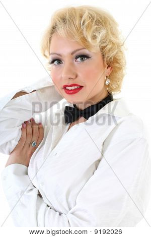Woman In White Shirt And Black Bow-tie