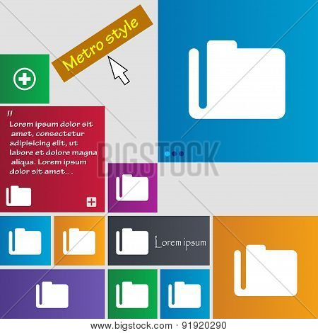 Document Folder Icon Sign. Metro Style Buttons. Modern Interface Website Buttons With Cursor Pointer