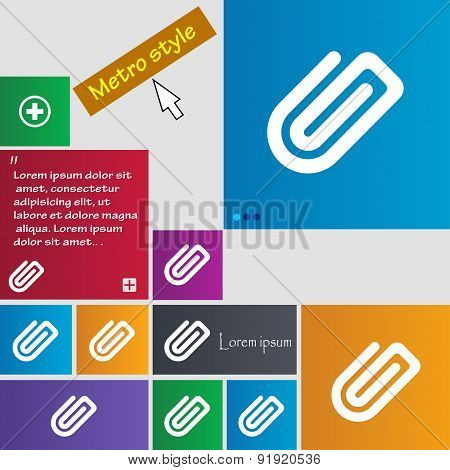 Paper Clip Icon Sign. Metro Style Buttons. Modern Interface Website Buttons With Cursor Pointer. Vec
