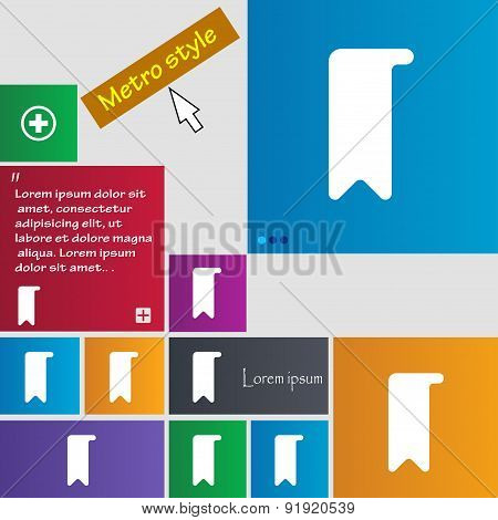 Bookmark Icon Sign. Metro Style Buttons. Modern Interface Website Buttons With Cursor Pointer. Vecto