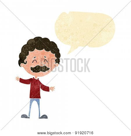cartoon happy man with mustache with speech bubble