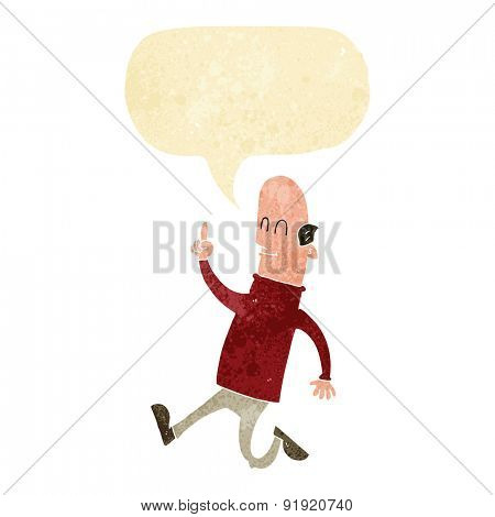 cartoon bald man with idea with speech bubble