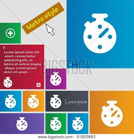 Timer, Stopwatch Icon Sign. Metro Style Buttons. Modern Interface Website Buttons With Cursor Pointe