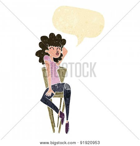 cartoon woman posing on chair with speech bubble