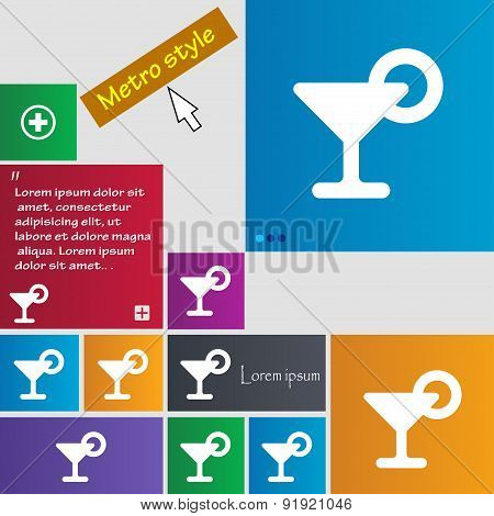 Drink, Cocktail With A Lemon Icon Sign. Metro Style Buttons. Modern Interface Website Buttons With C
