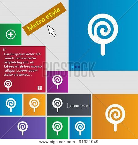 Candy Icon Sign. Metro Style Buttons. Modern Interface Website Buttons With Cursor Pointer. Vector