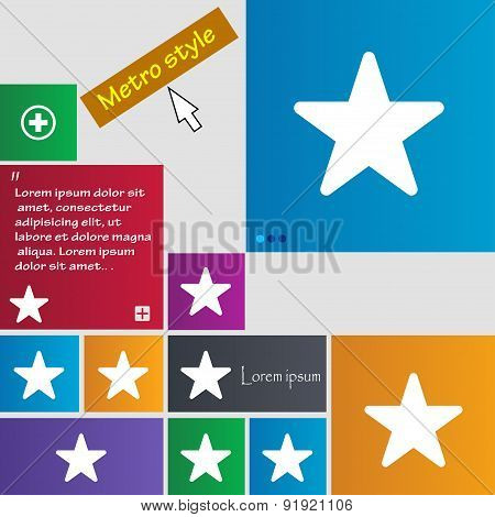 Favorite Star Icon Sign. Metro Style Buttons. Modern Interface Website Buttons With Cursor Pointer.