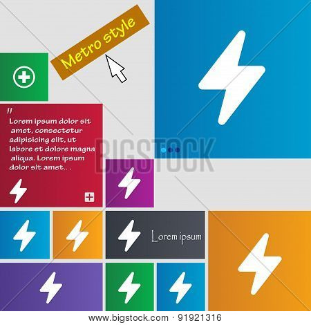 Photo Flash Icon Sign. Metro Style Buttons. Modern Interface Website Buttons With Cursor Pointer. Ve