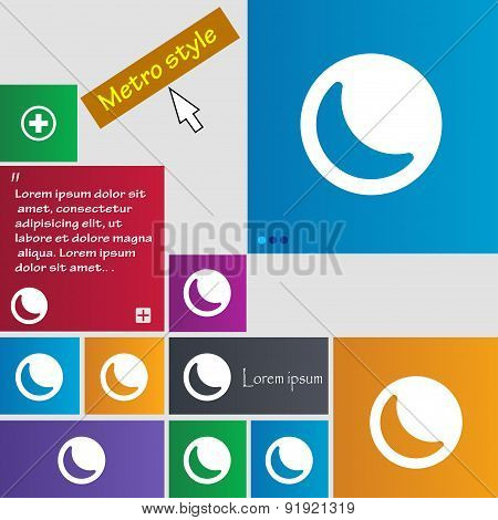 Moon Icon Sign. Metro Style Buttons. Modern Interface Website Buttons With Cursor Pointer. Vector