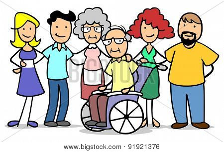 Happy camily caring for old senior man in wheelchair