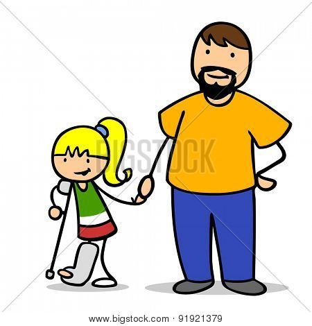Father holding hand of daughter with leg in plaster