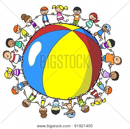 Many children holding hands around a beach ball as concept for summer holiday