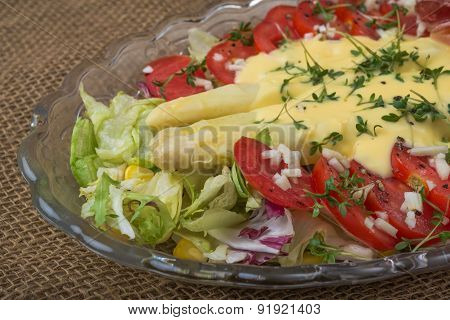 Aerial View White Asparagus Tomatoes Lettuce Salad On Burlap Background