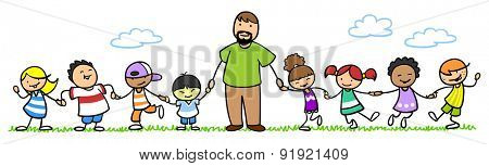 Teacher standing with a group of children outdoors in nature
