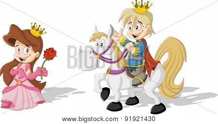 Cartoon princess and prince riding a horse