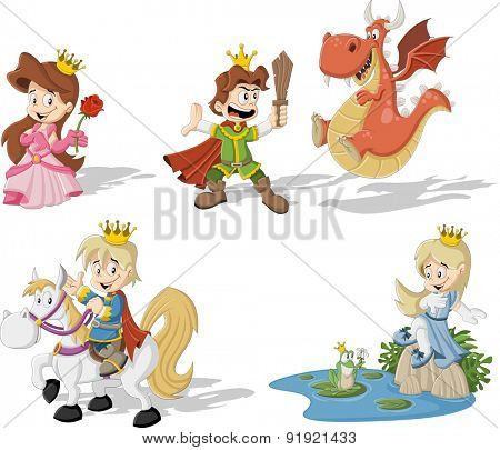 Cartoon princesses and princes with dragon and frog