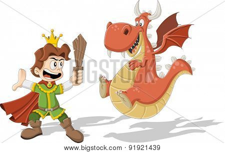 Cartoon princes with dragon flying