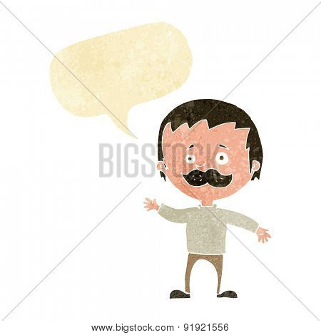 cartoon man with mustache waving with speech bubble