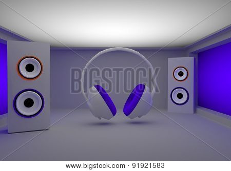 stylish headphones and speakers in the room 3d