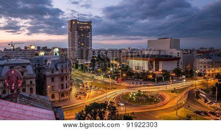 Bucharest Aerial View Sunset
