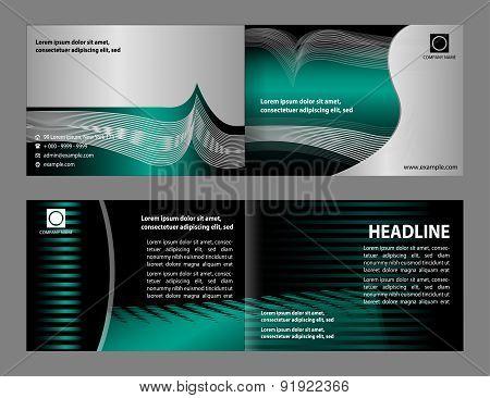 Vector empty bi-fold brochure print template design