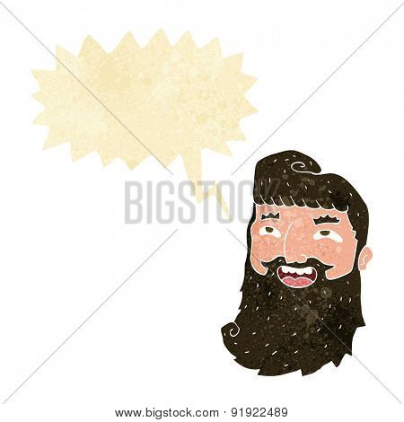 cartoon laughing bearded man with speech bubble