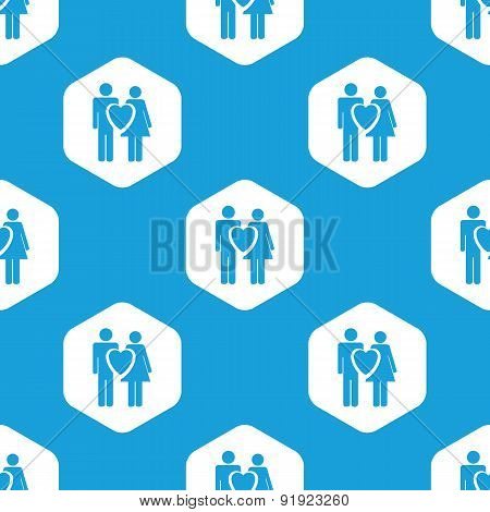 Couple in love hexagon pattern
