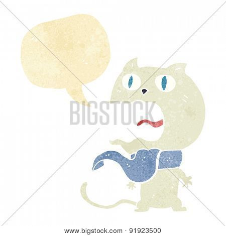 cartoon scared white cat
