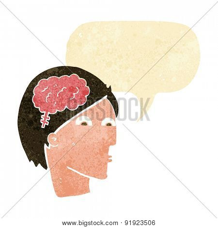 cartoon face with brain symbol
