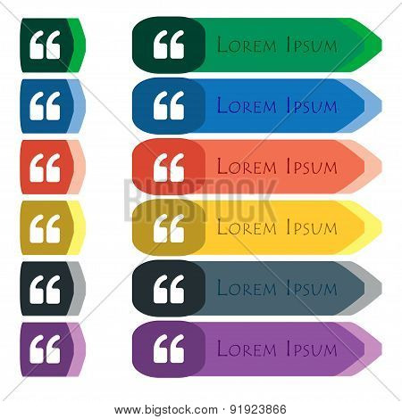 Double Quotes At The Beginning Of Words Icon Sign. Set Of Colorful, Bright Long Buttons With Additio