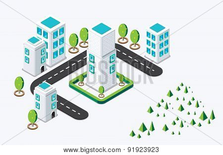 Isometric building city concept. vector illustration
