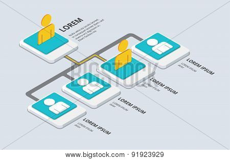 Isometric Organization And Sturcture Concept. Flat 3D Organization Pop-up From Ground. Vector Illust