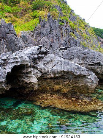 Rocks and sea. On a tropical island.
