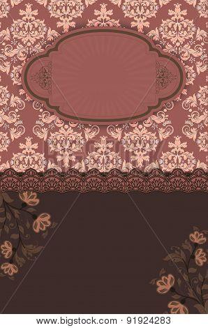 Vintage Floral Background With Frame.