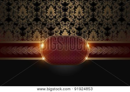 Vintage Background With Gold Patterns And Frame.