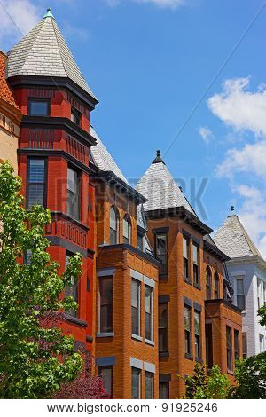 Tall row houses in historic neighborhood of Washington DC USA.
