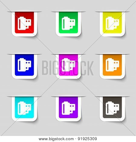 35 Mm Negative Films Icon Sign. Set Of Multicolored Modern Labels For Your Design. Vector