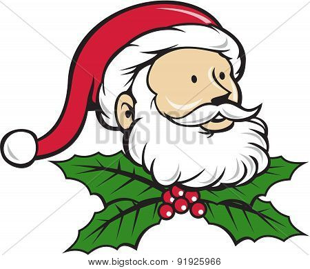 Santa Claus Father Head Christmas Holly Cartoon