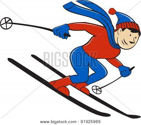 Skier Skiing Side Isolated Cartoon