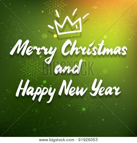 Green Winter Holiday Poster With Snowflakes And Crown