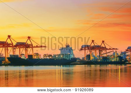 Beautiful Twilight Sky At Shipping Port Use For Vessel ,nautical Import And Export Transport Logisti